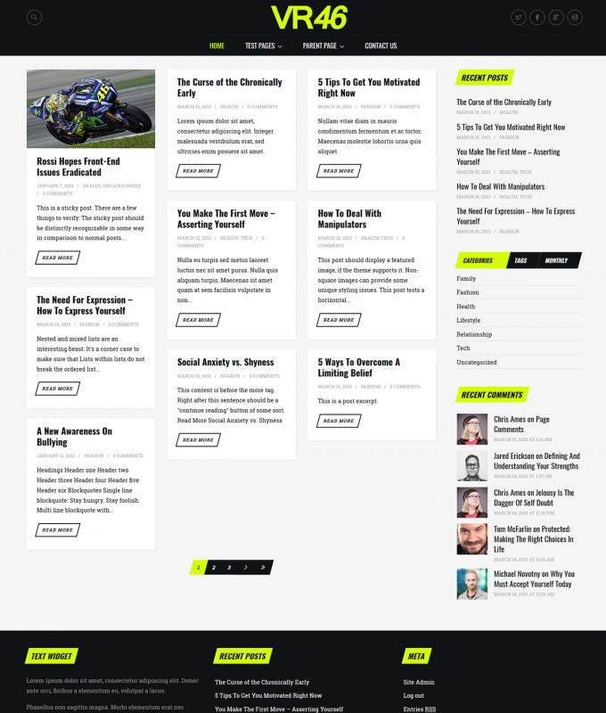 VR46 Free WordPress Theme